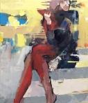 Woman seated, Öl auf Leinwand, 70x60 cm, 2019